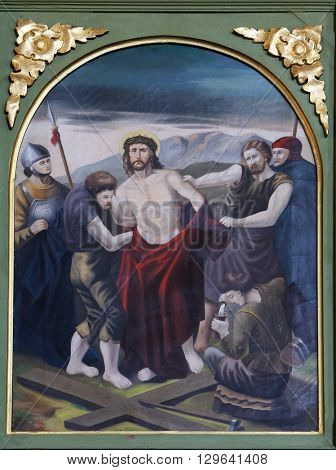 STITAR, CROATIA - AUGUST 27: 10th Stations of the Cross, Jesus is stripped of His garments, church of Saint Matthew in Stitar, Croatia on August 27, 2015