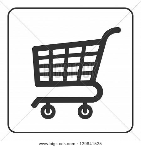 Shopping Cart Sign. Gray icon isolated on white background. Allowing signal. Trolley allowed button. Symbol of buy retail sale store and business. Flat design element. Stock Vector illustration.