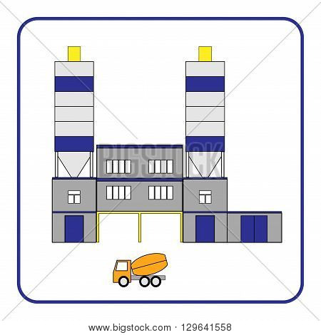 Concrete production plant icon with truck in frame. Building isolated on white background. Industrial manufacturing. Detailed modern flat style. Symbol of industry. Design element. Vector illustration