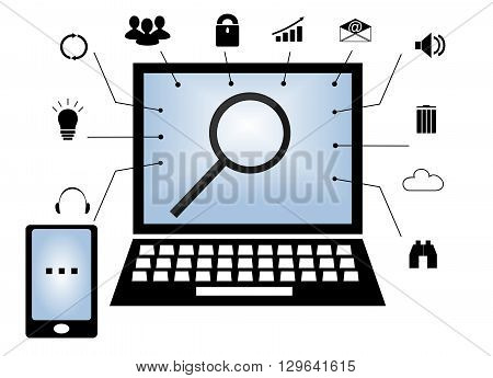 The laptop is induced with at its center a magnifying glass and standing with a mobile phone and different icons