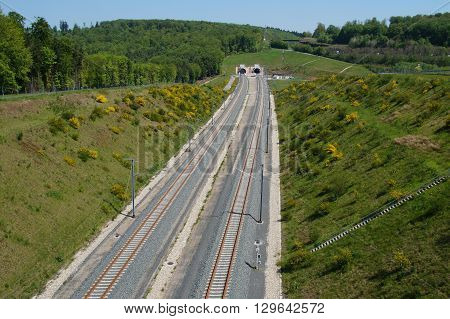 Rail Track for High Speed Trains entering tunnels - railroad track