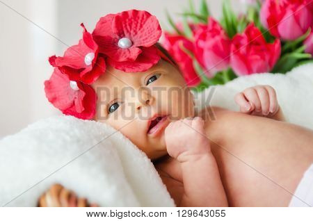 A baby girl in a red flower chaplet