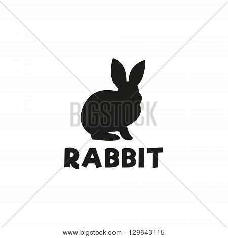 Silhouette of a rabbit sitting under a logo, pet modern design flat-style qualitative icons drawing initial submissions art