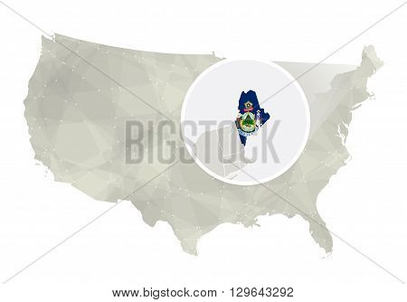 Polygonal Abstract Usa Map With Magnified Maine State.