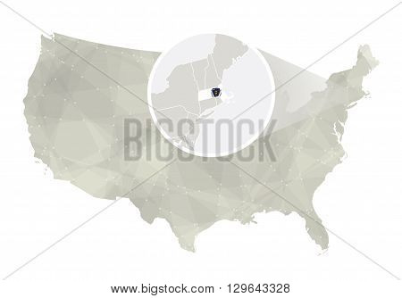 Polygonal Abstract Usa Map With Magnified Massachusetts State.