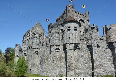 The Gravensteen - castle in Ghent , Belgium. Originating from the Middle Ages.
