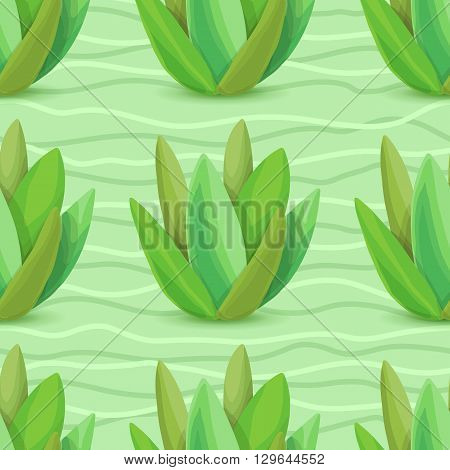 Succulents seamless pattern. Vector illustration with succulents, green wave, light green background