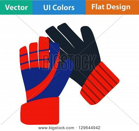 Flat Design Icon Of Football   Goalkeeper Gloves