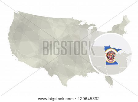 Polygonal Abstract Usa Map With Magnified Minnesota State.