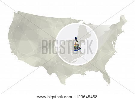 Polygonal Abstract Usa Map With Magnified New Hampshire State.