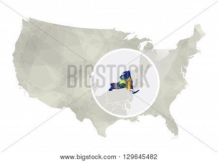 Polygonal Abstract Usa Map With Magnified New York State.