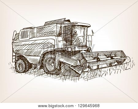 Combine harvester on field sketch style vector illustration. Old engraving imitation.