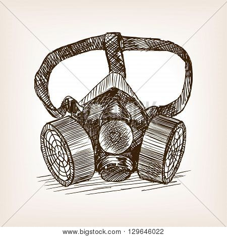 Respirator sketch style vector illustration. Old engraving imitation.