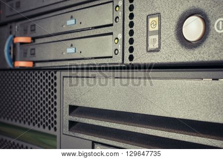 Computer Server and CD or DVD and tape drive in datacenter
