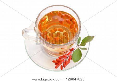 goji fresh antioxidant tea isolated on white background. top view
