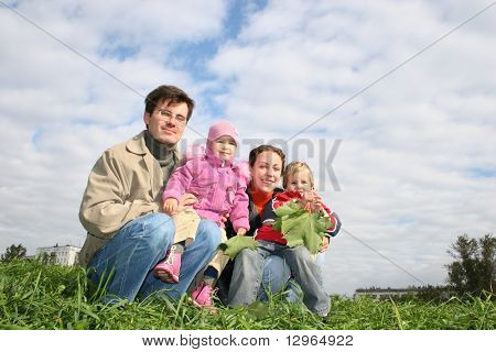 family of four sit. clouds. grass