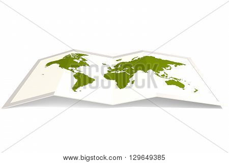 Green world map isolated on white 3D rendering, 3D rendering