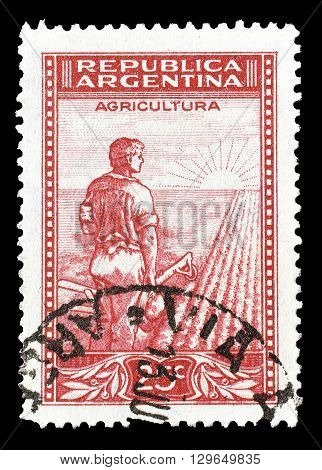 ARGENTINA - CIRCA 1936 : Cancelled postage stamp printed by Argentina, that shows Agriculture.
