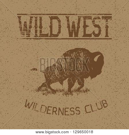 Western vintage label with bison.Typography design for t-shirts