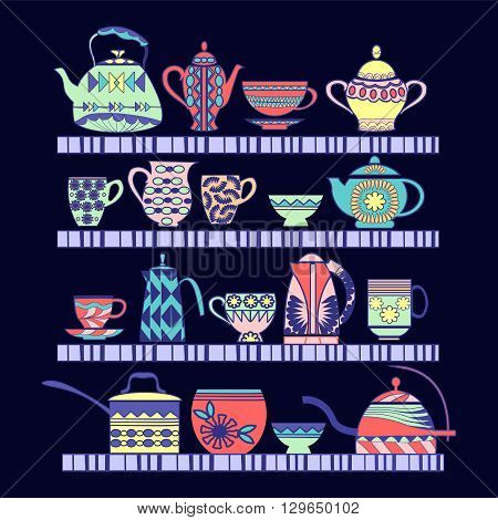 Vector illustration set of tea collection with a tea pot tea cup jars jugs on the shelves. In vintage style.