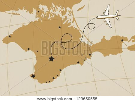 Autonomous Republic of Crimea map postcard design, Crimea map poster or card with plane outline on aged kraft paper vintage background