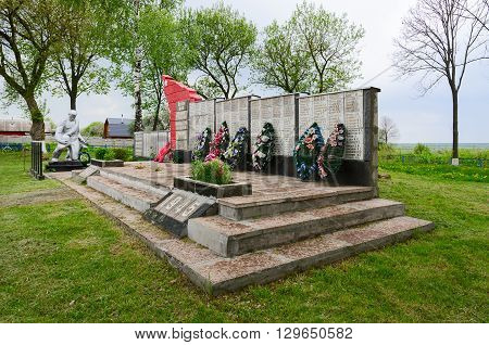 SHERSTIN BELARUS - MAY 4 2016: Monument to the soldiers who perished in Great Patriotic War the village Sherstin Vetka district Gomel region Belarus