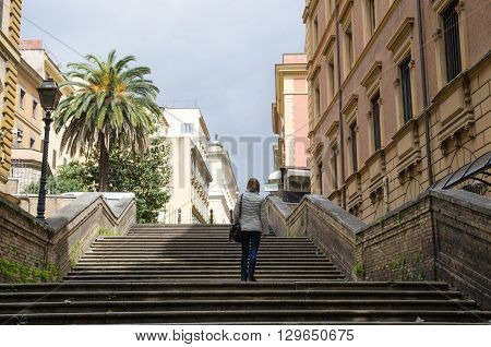 ROME, ITALY  APRIL 26: One of all the steps in Rome. This one by the street Via Veneto. April 26, 2016