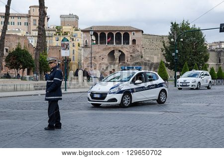 ROME, ITALY  APRIL 26: Policeman directing the traffic in Rome Italy April 26, 2016