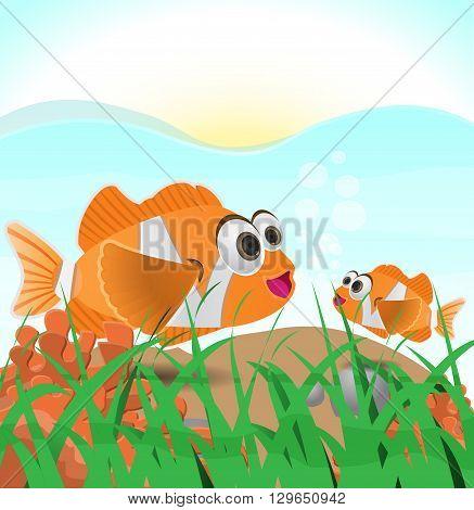 cartoon Clown fish family under water Illustration