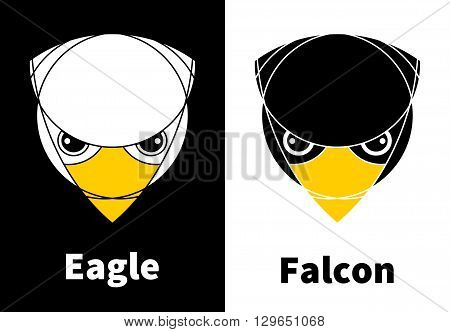 Eagle and falcon heads. Isolated. Reversed colors. Applied for t-shirt website etc
