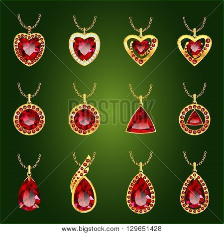 Set of realistic red jewels. Colorful red gemstones. Red rubies pendants isolated on green background. Princess cut jewel. Round cut jewel. Emerald cut jewel. Oval cut jewel. Pear jewel . Heart jewel.