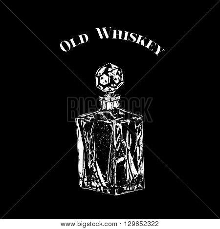 Hand drawn vector vintage crystal decanter. Black on white whiskey bottle.