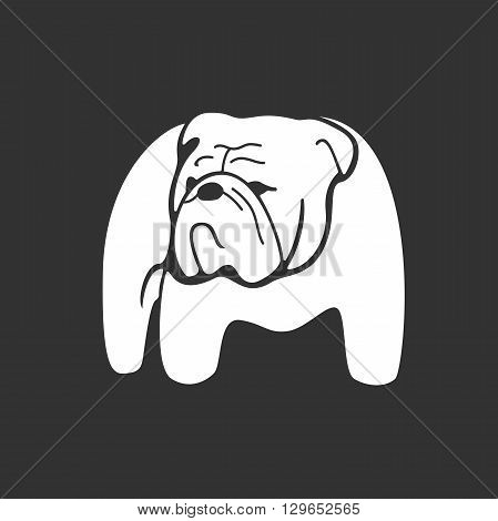 Bulldog monochrome silhouette. Monochrome hand drawn logotype of pointing bulldog on dark background. Easy editable. Vector concept design which can be used on print, cover or tattoo design.