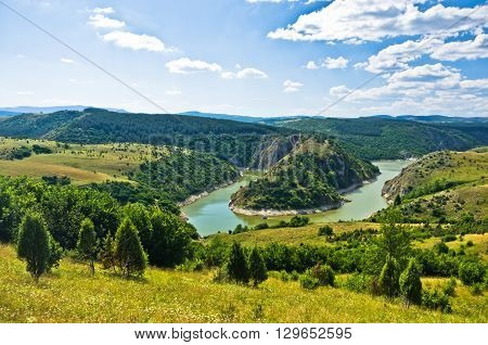 Meanders at river Uvac gorge on sunny morning, southwest Serbia