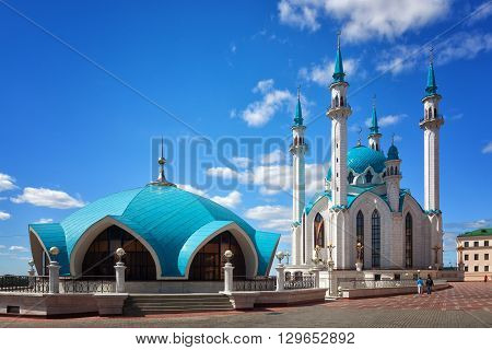 Qol Sharif mosque against the blue sky with white clouds Kazan Russia