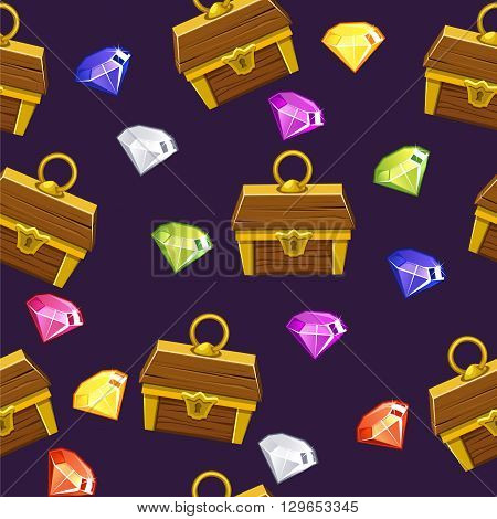 Seamless pattern with colorful gemstones and antique treasure chest