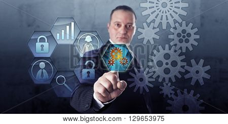 Process manager is connecting a virtual gear train with work flow tools via touch. Industry concept and business concept for business process management and interlocking of human and machine tasks.