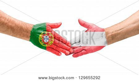 Football Teams - Handshake Between Portugal And Austria