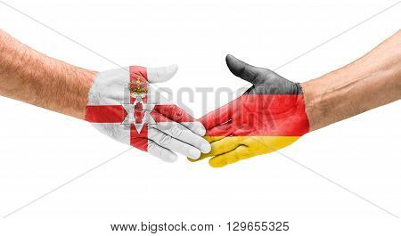 Football Teams - Handshake Between Northern Ireland And Germany