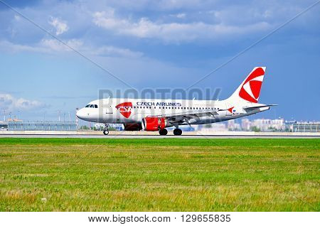 SAINT PETERSBURG RUSSIA - MAY 11 2016. CSA Czech Airlines Airbus A319 airplane-registration number OK-MEK - is riding on the runway after landing in Pulkovo International airport