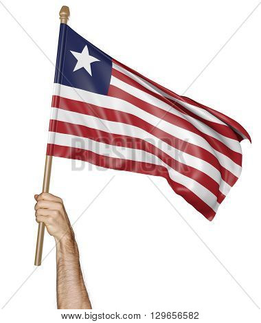 Hand proudly waving the national flag of Liberia, 3D rendering