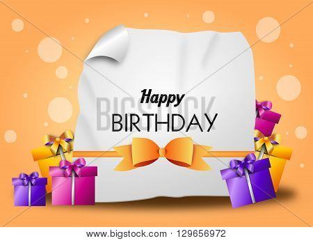 Happy birthday greeting card with ribbon and gifts