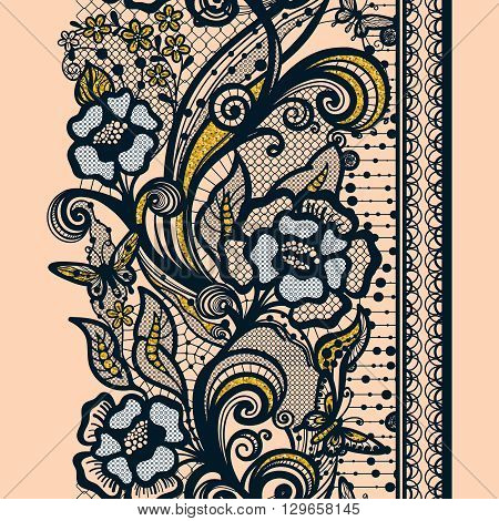 Abstract seamless lace pattern,golden texture with flowers and butterflies. Infinitely wallpaper, decoration design, lingerie and jewelry. Invitation cards,wallpaper tile ornament.
