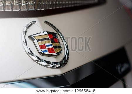 Saratov, Russia - April 06, 2013: Emblem of Cadillac company on car at daytime