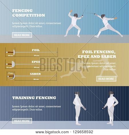 Vector set of sport fencing banners. Fencing competition concept.