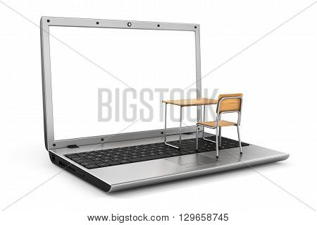School desk and chair on the keyboard. Online traning concept. 3d illustration