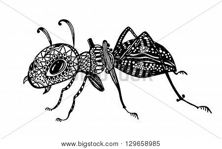 Vector illustration - Ant. Line art doodle art. Coloring Book for adults anti-stress. Black and white.