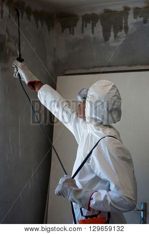 Man doing pest control on a wall at home