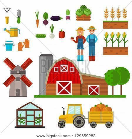 Farm symbols food nature production symbols, organic product, machinery and tools farm vector illustration. Farm agriculture symbols and nature organic farm symbols harvest collection.