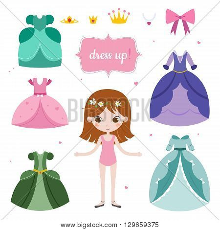 Illustration of princess with beautiful set. Princess dress up game. Vector image isolated on white background.